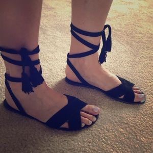 JCrew tie up, black suede, sandals - 8.5